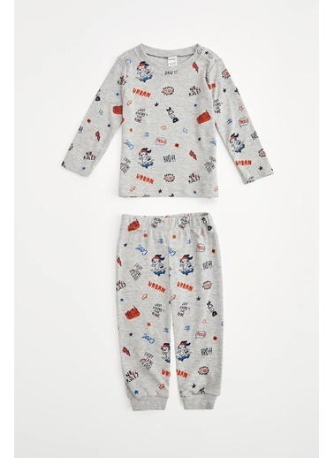 DeFacto Erkek Bebek Baskılı Pijama Takımı Gri